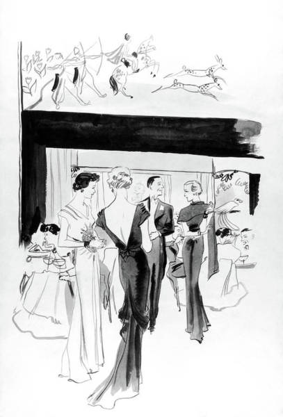 Atlantic Digital Art - Illustration Of A Man And Women At The Plaza by Jean Pages