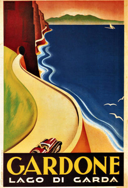 Kunst Wall Art - Painting - Illustration Of A Winding Road In Gardone By The Shore Of Lake Garda - Vintage Travel Poster by Studio Grafiikka