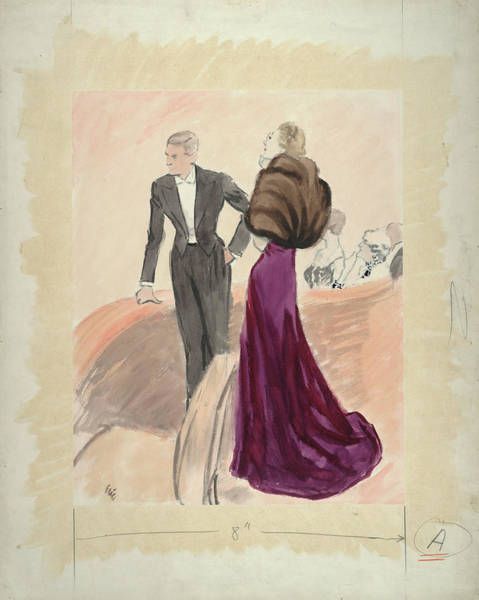 Illustration Of A Woman And Man Dressed Art Print