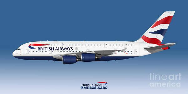 Wall Art - Digital Art - Illustration Of British Airways Airbus A380 - Blue Version by Steve H Clark Photography