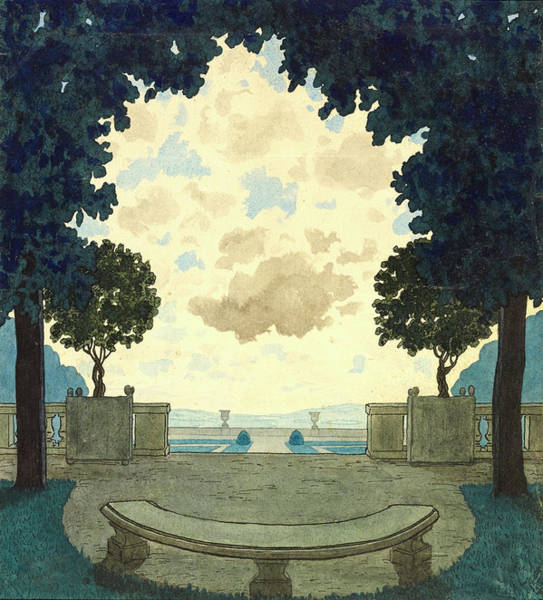 Curve Photograph - Illustration Of Courtyard And Trees by Pierre Brissaud