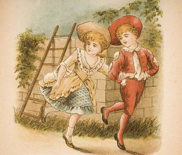 Mother Goose Drawing - Illustration Of Girl And Boy From Old by Vintage Design Pics