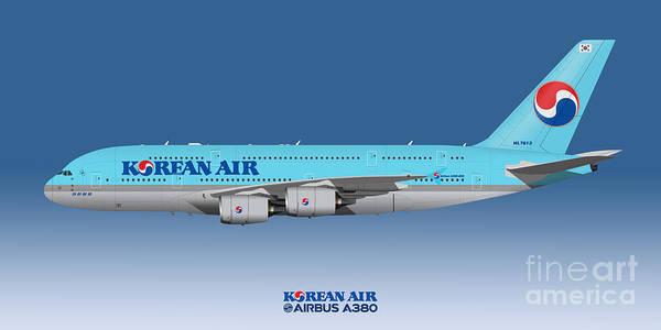 Wall Art - Digital Art - Illustration Of Korean Air Airbus A380 - Blue Version by Steve H Clark Photography