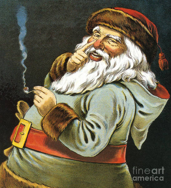 Winter Holidays Painting - Illustration Of Santa Claus Smoking A Pipe by American School
