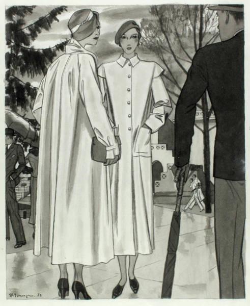 Digital Art - Illustration Of Two Women Wearing Coats by Pierre Mourgue