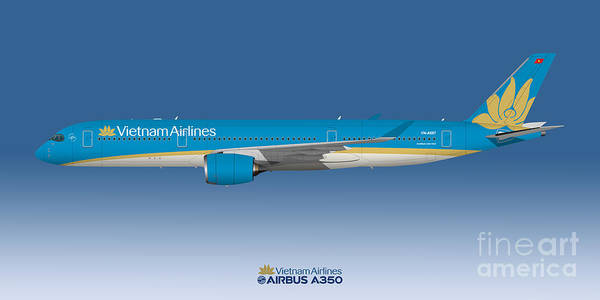 Vietnam Airlines Digital Art - Illustration Of Vietnam Airlines Airbus A350 - Blue Version by Steve H Clark Photography
