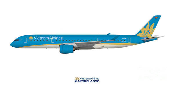 Vietnam Airlines Digital Art - Illustration Of Vietnam Airlines Airbus A350 by Steve H Clark Photography