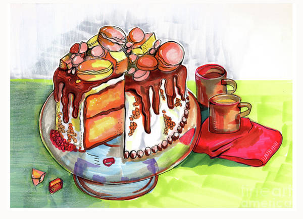 Drawing - Illustration Of  Winter Party Cake  by Ariadna De Raadt
