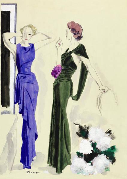 Purple Flower Digital Art - Illustration Of Women In Patou Dresses by Pierre Mourgue