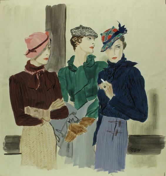 Adult Digital Art - Illustration Of Women Wearing Schiaparelli by Rene Bouet-Willaumez