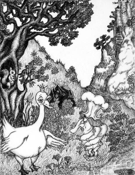 White Goose Drawing - Illustration To Wilhelm Gauf's Little Long Nose by Rae Chichilnitsky