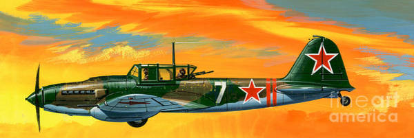 Wall Art - Painting - Ilyushin II 2m3 Russian Ground Attack Aircraft by Wilf Hardy
