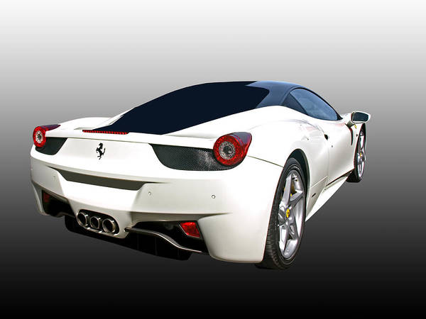 458 Photograph - I'm Out Of Here - White Ferrari by Gill Billington