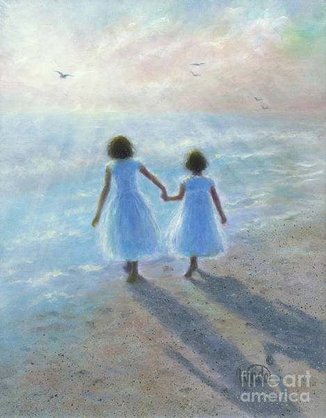 Wall Art - Painting - Imagine Two Brunette Sisters by Vickie Wade