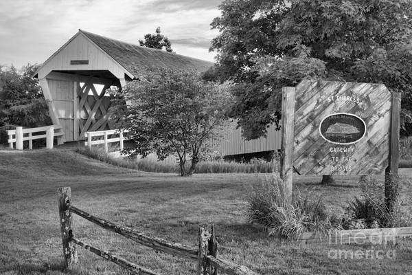 Photograph - Imes Covered Bridge Landscape Black And White by Adam Jewell