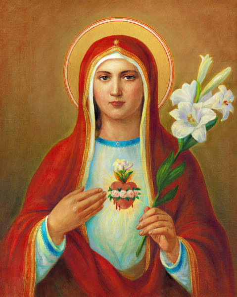 Worship Wall Art - Painting - Immaculate Heart Of Mary by Svitozar Nenyuk