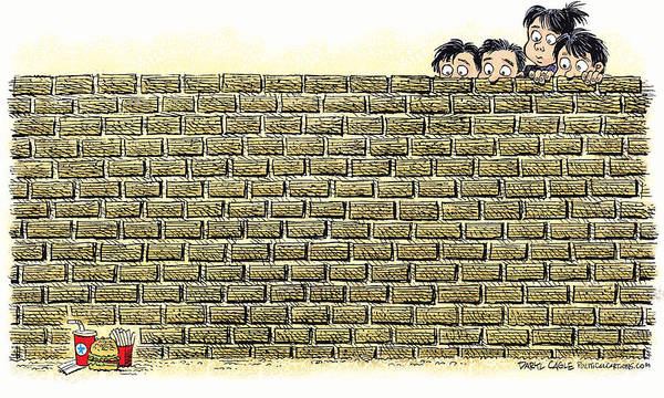 Drawing - Immigrant Kids At The Border by Daryl Cagle