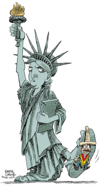 Drawing - Immigration And Liberty by Daryl Cagle