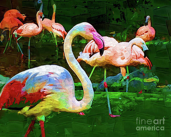 Digital Art - Impasto Flamingo by Kirt Tisdale