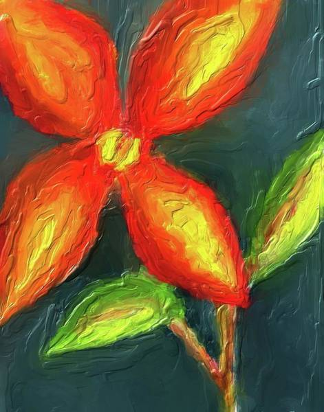 Digital Art - Impasto Red And Yellow Flower by Eduardo Tavares