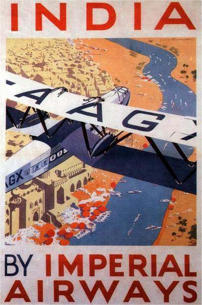 Kunst Painting - Imperial Airways Airplane Flying Over River Ganges In India - Vintage Travel Advertising Poster by Studio Grafiikka