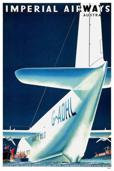 Wall Art - Mixed Media - Imperial Airways - Europe, Africa, India, Far East, Australia - Retro Travel Poster - Vintage Poster by Studio Grafiikka