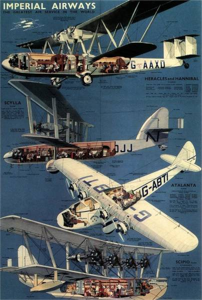 Bauhaus Mixed Media - Imperial Airways - The Greatest Air Service In The World - Retro Travel Poster - Vintage Poster by Studio Grafiikka