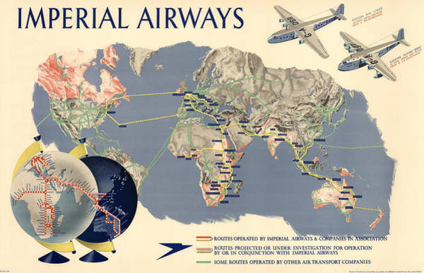 Wall Art - Mixed Media - Imperial Airways - Vintage Travel Advertising Poster - World Map by Studio Grafiikka
