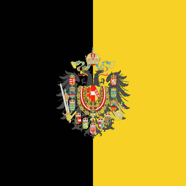 Habsburg Flag With Imperial Coat Of Arms 2 Art Print