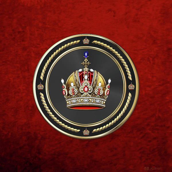 Digital Art - Imperial Crown Of Austria Over Red Velvet by Serge Averbukh