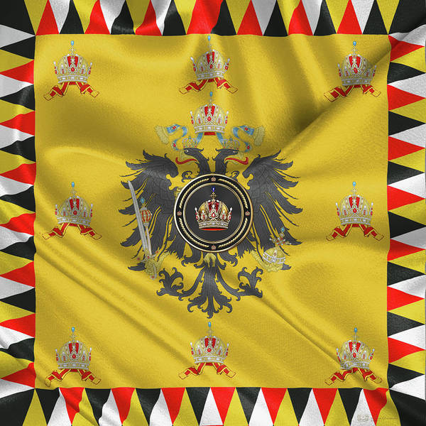 Digital Art - Imperial Crown Of Austria Over Standard Of The Emperor by Serge Averbukh