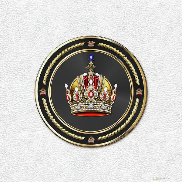 Digital Art - Imperial Crown Of Austria Over White Leather  by Serge Averbukh