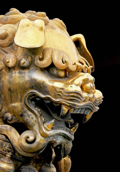 Lion Statue Photograph - Imperial Palace Foo Dog by Glennis Siverson