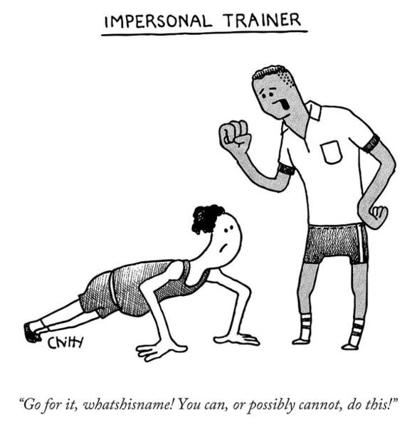 Workout Drawing - Impersonal Trainer by Tom Chitty