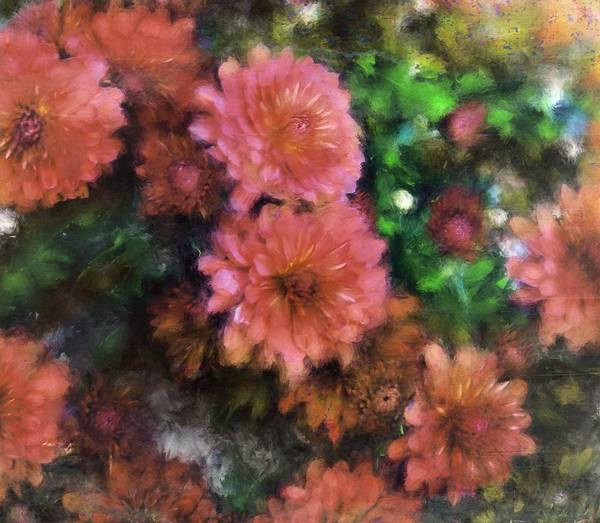 Painting - Bronze And Pink Mums by Sand And Chi