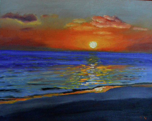 Painting - Impression Sunset Hapuna Beach by Thu Nguyen