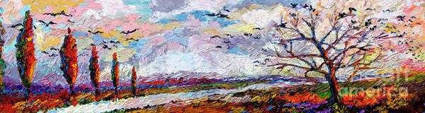 Painting - Impressionist Autumn Panoramic Landscape Bird Migration by Ginette Callaway