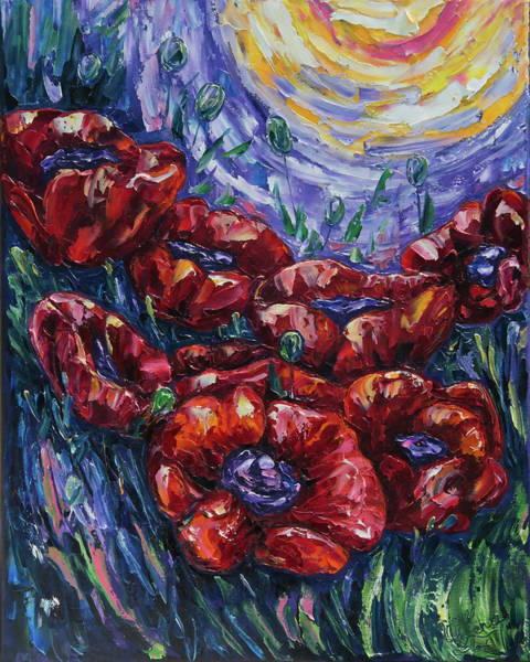 Painting - Impressionist Field Poppies by OLena Art - Lena Owens