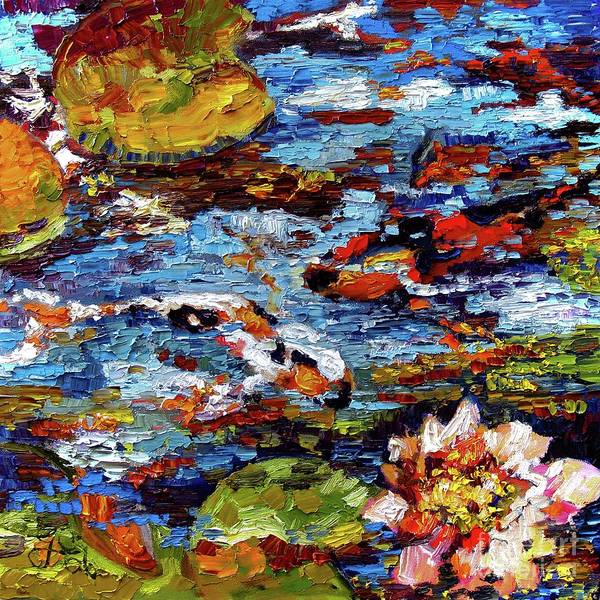 Painting - Impressionist Koi Fish Pond Garden by Ginette Callaway