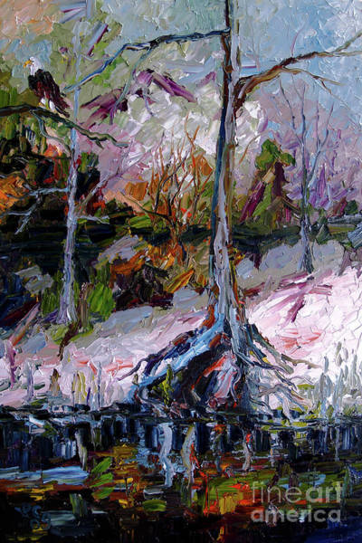 Painting - Impressionist Landscape Portrait Wetland Tree by Ginette Callaway