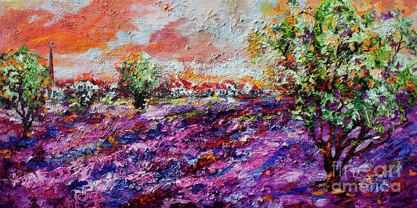 Impressionist Lavender Fields Provence Art Print