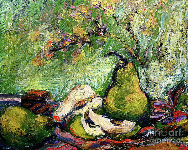 Painting - Impressionist Pears And Chocolate Oil Painting by Ginette Callaway