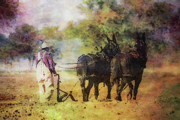 Photograph - Impressionist Plowing With Mules 5630 Idp_2 by Steven Ward