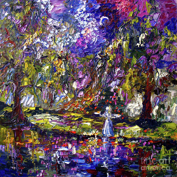 Painting - Impressionist Savannah Georgia Gardens Bird Girl by Ginette Callaway