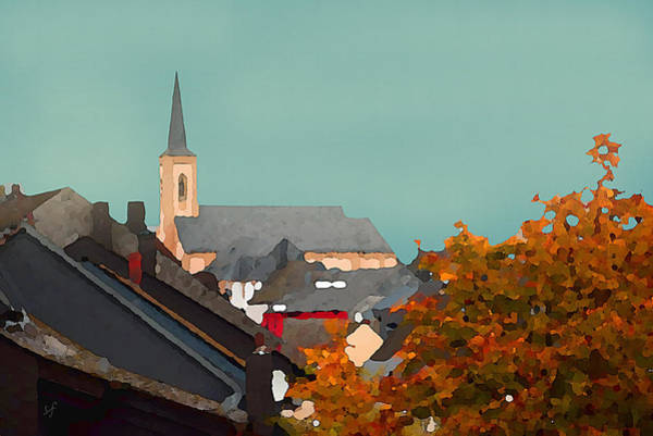 Digital Art - Impressionist Village With Church Steeple by Shelli Fitzpatrick