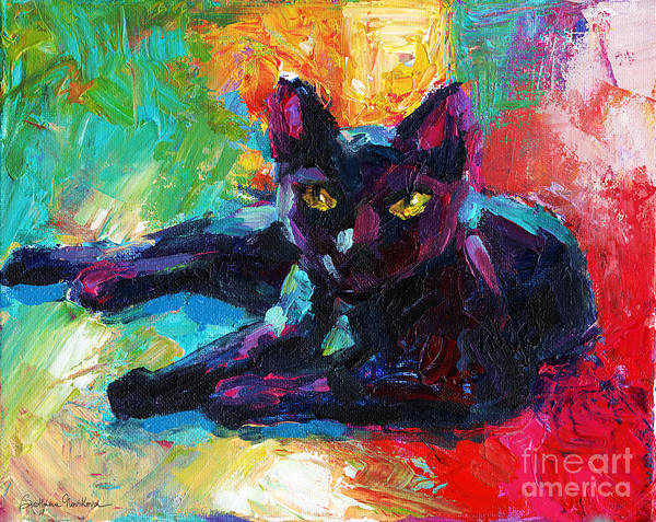 Impressionistic Black Cat Painting 2 Art Print