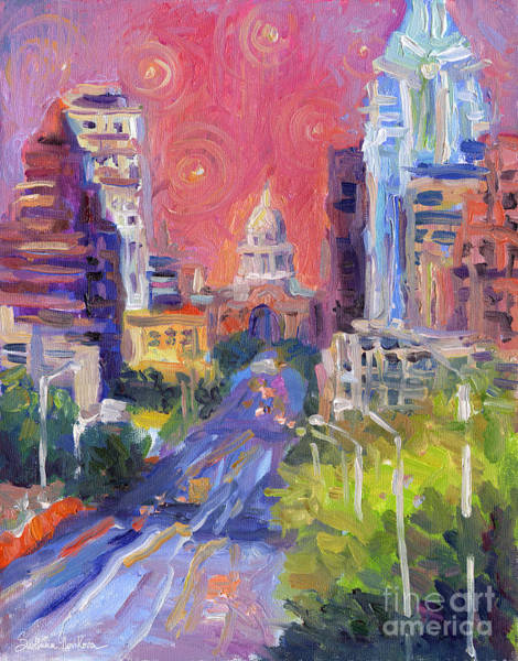 Impressionistic Downtown Austin City Painting Art Print