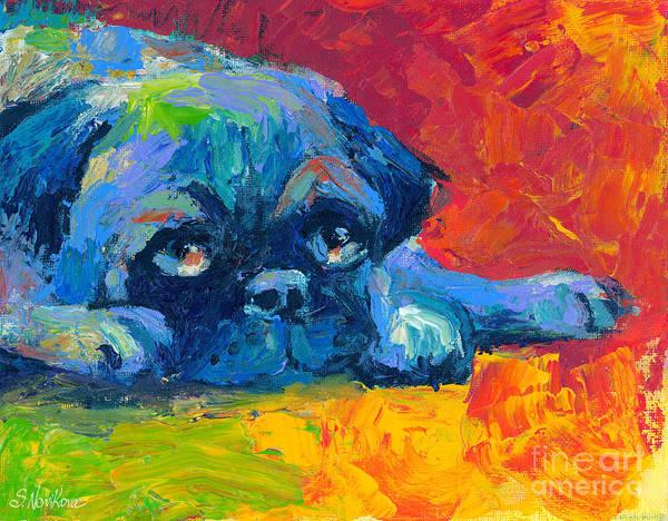 Painting - impressionistic Pug painting by Svetlana Novikova