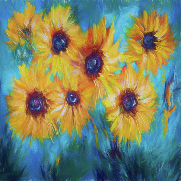 Painting - Impressionistic Sunflowers by OLena Art - Lena Owens