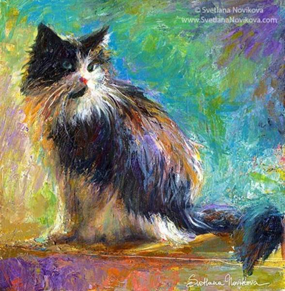 Impressionistic Tuxedo Cat Painting By Art Print